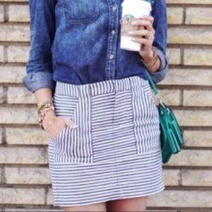 Madewell   Striped Linen Blend Mini Skirt
